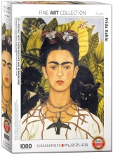 Eur-6000-0802,Puzzel self portrait with thorn neclace and hummingbird - frida kahlo - 1000 st.